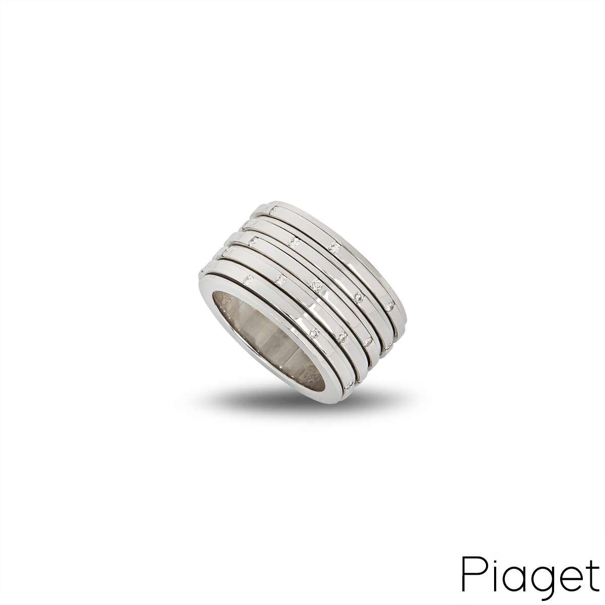 Piaget 18k White Gold Diamond Possession Ring Size 52 B&P G34PO852